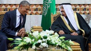 US President Barack Obama meets King Salman in Riyadh, Saudi Arabia (27 January 2015)