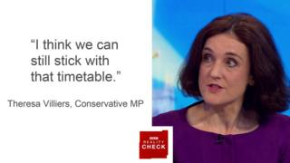 Theresa Villiers saying: I think we can still stick with that timetable.
