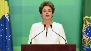 Dilma Rousseff during live televised speech in Brasilia