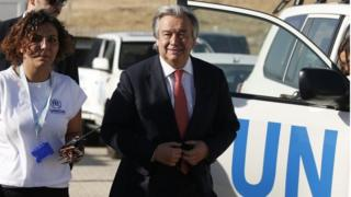 UN High Commissioner for Refugees Antonio Guterres arrives for a visit at the Midyat refugee camp in Mardin, south-eastern Turkey, near the Syrian border, on 20 June 2015