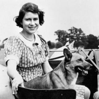 Princess Elizabeth in the garden of her wartime country residence at Windsor