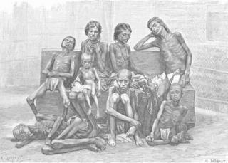 Antique print of Indian famine victims, 1885