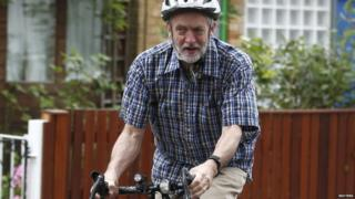 Jeremy Corbyn on his bicycle