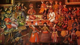 Persian miniature painting of a 14th Century Persian court banquet