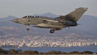 RAF Tornado GR4 returning to RAF Akrotiri in Cyprus after an armed mission against IS forces in Iraq on 30 September 2014