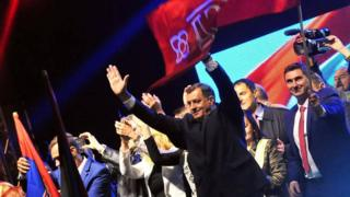 Bosnian Serb President Milorad Dodik celebrates with supporters in Pale. 25 Sept 2016