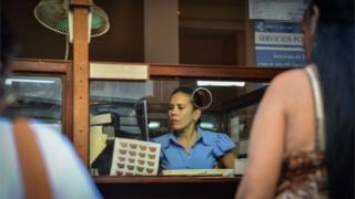 Cuban post worker in Havana