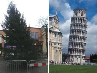 Beeston Christmas tree and Leaning Tower of Pisa