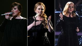Adele in 2008, 2011 and 2015