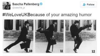 Tweet saying somebody loves the UK because of Monty Python silly walks