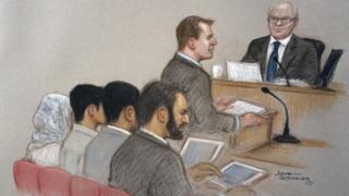 A court sketch of the sentencing hearing of a 15-year-old boy for terror offences
