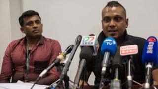 Sri Lankan asylum seekers Debagma Kankanalamage Ajith Pushpa Kumara (left), 45, and Kellapatha Supun Thilina (right), 32, 23 February 2017