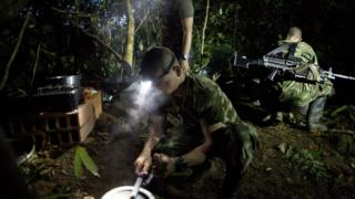 Fighters at a hidden Farc camp in Antioquia state, Colombia. 6 Jan 2016