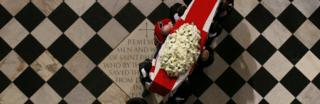 Coffin of former British prime minister Margaret Thatcher