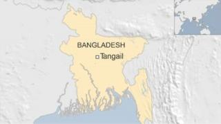 Map of Bangladesh showing town of Tangail - April 2016