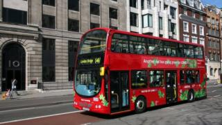 A hybrid diesel and electric powered bus