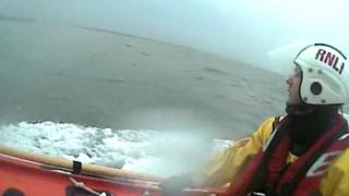 RNLI crew searching for aircraft