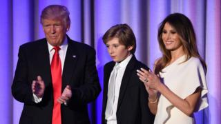 US President-elect Donald Trump arriving with his son Barron and wife Melania at the New York Hilton