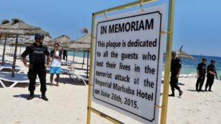 Memorial plaque for Sousse victims