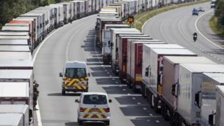Lorries parked on the M20 during Operation Stack in July