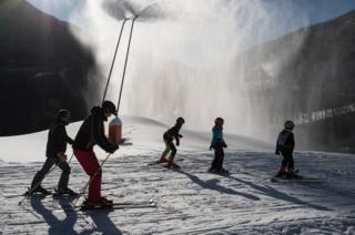 Skiers at Saint Sorlin D'Arves, France