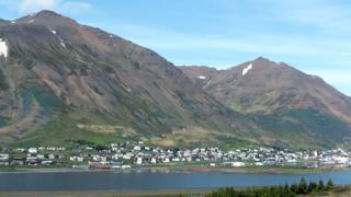 The village of Siglufjordur in northern Iceland