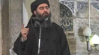 Abu Bakr al-Baghdadi delivers a sermon at Mosul's Great Mosque in July 2014