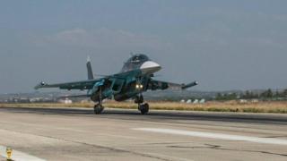 Russian Sukhoi aircraft at Hmeimim base