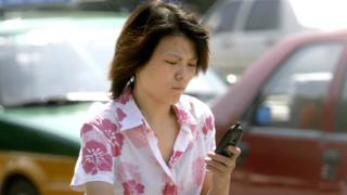 Lady using a mobile phone