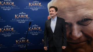 Polish actor Jacek Kawalec at a press conference for Karol the musical