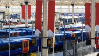 trains at big station