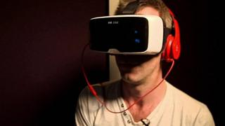A person wearing a virtual reality headset