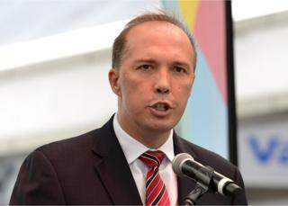 Peter Dutton speaks during the media opportunity as the one year to go countdown begins until the 2015 ICC Cricket World Cup at the Queen Street Mall on 14 February 2014 in Brisbane, Australia