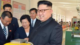 North Korean leader Kim Jong Un provides field guidance to the Mangyongdae Revolutionary Site Souvenir Factory