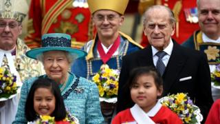 The Queen and the Duke of Edinburgh at St George's Chapel Windsor Castle