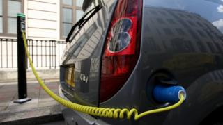 Electric car plugged in and charging