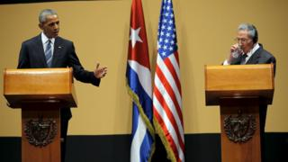 "U.S. President Barack Obama and Cuban President Raul Castro attends a news conference as part of Obama""s three-day visit to Cuba, in Havana March 21, 2016."