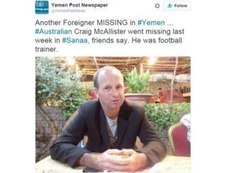 Australian coach kidnapped in Yemen appears in hostage video