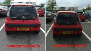 Jade Beeby's car parked at Tritton Retail Park