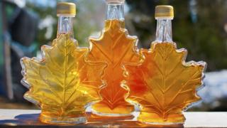 Bottles of Canadian maple syrup