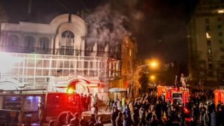 Iranian protesters set fire to the Saudi Embassy in Tehran during a demonstration against the execution of prominent Shiite Muslim cleric Nimr al-Nimr by Saudi authorities, on 2 January 2016.