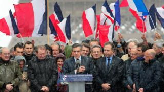 French conservative presidential candidate Francois Fillon delivers his speech during a rally in Paris, Sunday, March 5, 2017.
