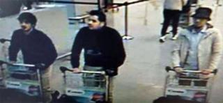 CCTV footage of three suspects at Brussels airport - 22 March 2016