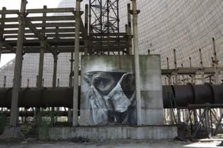 This piece was painted inside an unfinished power generator at Chernobyl to mark the 30th anniversary of the nuclear disaster