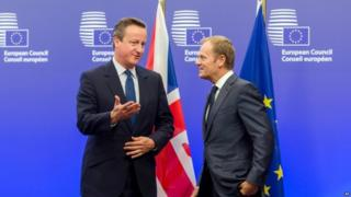 David Cameron (left) and Donald Tusk