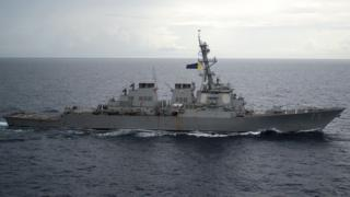 Guided-missile destroyer USS Decatur (DDG 73) operates in the South China Sea