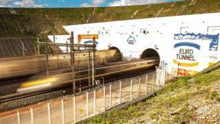 Eurotunnel train in Coquelles, France