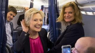 Hillary Clinton and director of communications Jennifer Palmieri, right, on campaign plane at Westchester County Airport in Westchester, NY. 6 Sept 2016
