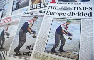 British front pages after a child's body is discovered in Bodrum