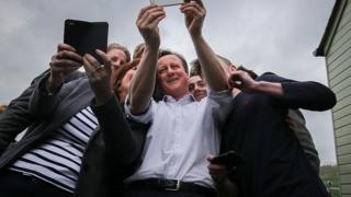 David Cameron takes a selfie